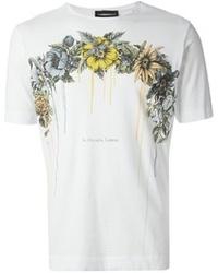 T-shirt à col rond à fleurs blanc Diesel Black Gold