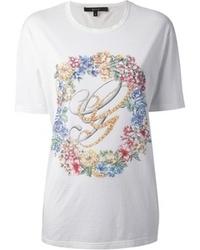 T-shirt à col rond à fleurs blanc Gucci