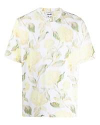 T-shirt à col rond à fleurs blanc Kenzo