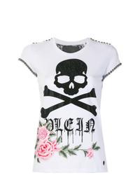 T-shirt à col rond à fleurs blanc Philipp Plein