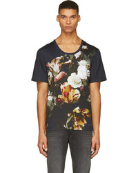 T-shirt à col rond à fleurs bleu marine
