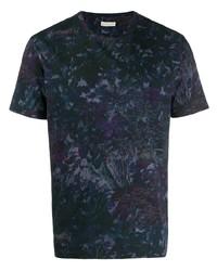 T-shirt à col rond à fleurs bleu marine Etro