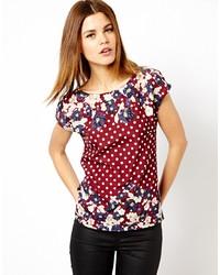 T-shirt à col rond à fleurs bordeaux