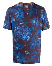 T-shirt à col rond à fleurs bordeaux Paul Smith