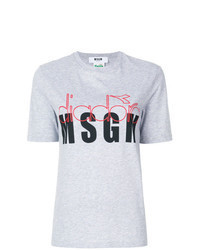 T-shirt à col rond à fleurs gris