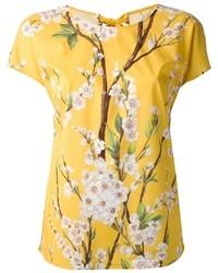 T-shirt à col rond à fleurs jaune