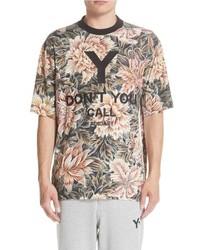 T-shirt à col rond à fleurs marron clair