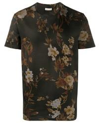 T-shirt à col rond à fleurs marron foncé Etro