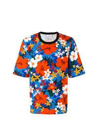 T-shirt à col rond à fleurs multicolore