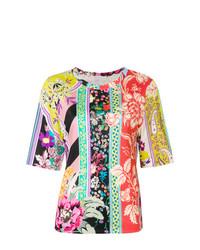 T-shirt à col rond à fleurs multicolore Etro
