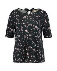 T-shirt à col rond à fleurs noir Esprit