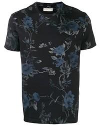 T-shirt à col rond à fleurs noir Etro