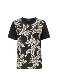 T-shirt à col rond à fleurs noir Moncler