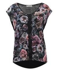 T-shirt à col rond à fleurs noir Oasis