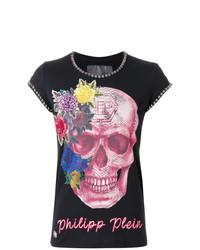 T-shirt à col rond à fleurs noir Philipp Plein