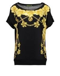T-shirt à col rond à fleurs noir Versace