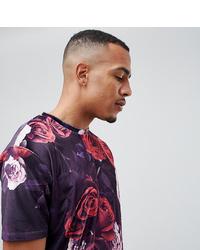 T-shirt à col rond à fleurs pourpre