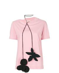 T-shirt à col rond à fleurs rose Marni