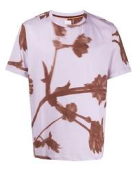 T-shirt à col rond à fleurs violet clair Paul Smith