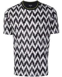 T-shirt à col rond à motif zigzag noir Giorgio Armani