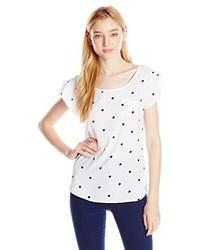 T-shirt à col rond á pois blanc et bleu marine