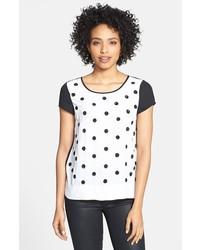 T-shirt à col rond á pois blanc