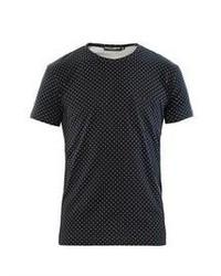 T-shirt à col rond á pois bleu marine