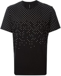 T-shirt à col rond á pois noir et blanc