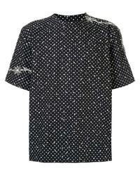 T-shirt à col rond á pois noir et blanc Sacai