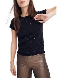 T-shirt à col rond á pois noir