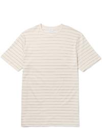 T-shirt à col rond à rayures horizontales beige