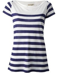 T-shirt à col rond à rayures horizontales blanc et bleu marine