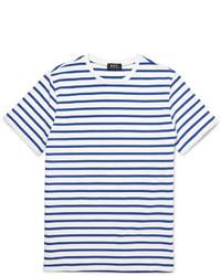 T-shirt à col rond à rayures horizontales blanc et bleu marine A.P.C.