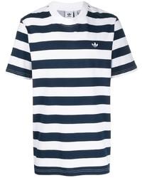 T-shirt à col rond à rayures horizontales blanc et bleu marine adidas