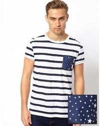 T-shirt à col rond à rayures horizontales blanc et bleu marine Asos