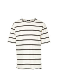 T-shirt à col rond à rayures horizontales blanc et bleu marine Bassike