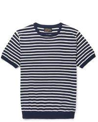 T-shirt à col rond à rayures horizontales blanc et bleu marine Beams