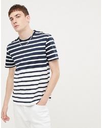 T-shirt à col rond à rayures horizontales blanc et bleu marine Ben Sherman