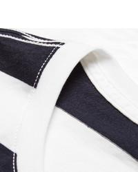 T-shirt à col rond à rayures horizontales blanc et bleu marine Burberry