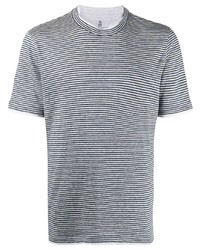 T-shirt à col rond à rayures horizontales blanc et bleu marine Brunello Cucinelli
