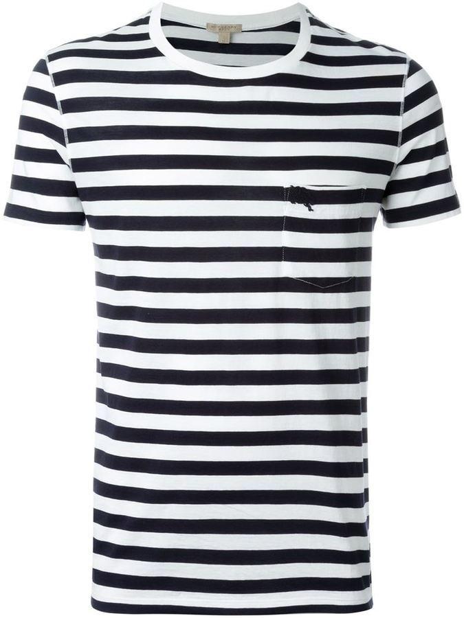 ... T-shirt à col rond à rayures horizontales blanc et bleu marine Burberry 2d924f54504