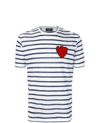T-shirt à col rond à rayures horizontales blanc et bleu marine DSQUARED2