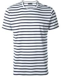 T-shirt à col rond à rayures horizontales blanc et bleu marine Etro