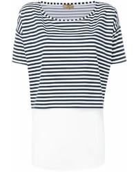 T-shirt à col rond à rayures horizontales blanc et bleu marine Fay