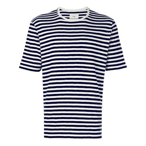 T-shirt à col rond à rayures horizontales blanc et bleu marine Folk