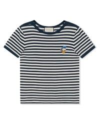 T-shirt à col rond à rayures horizontales blanc et bleu marine Gucci
