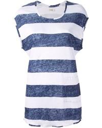 T-shirt à col rond à rayures horizontales blanc et bleu marine Humanoid