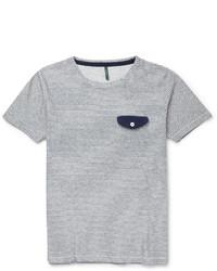 T-shirt à col rond à rayures horizontales blanc et bleu marine Incotex