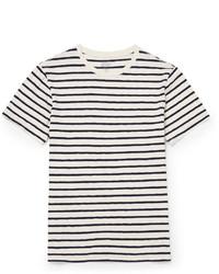 T-shirt à col rond à rayures horizontales blanc et bleu marine J.Crew