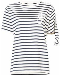 T-shirt à col rond à rayures horizontales blanc et bleu marine J.W.Anderson